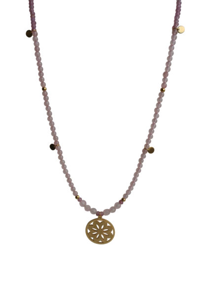 FlowJewels ketting goud - roze