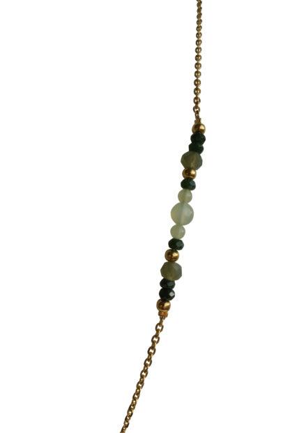 FlowJewels ketting goud - khaki/groen