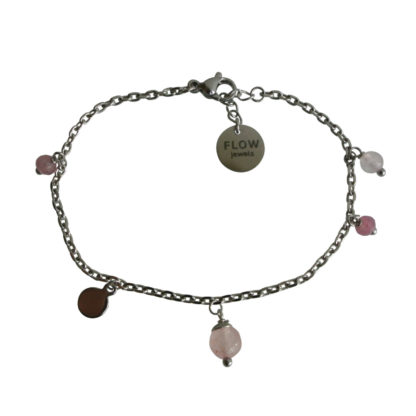 FlowJewels armband zilver - roze