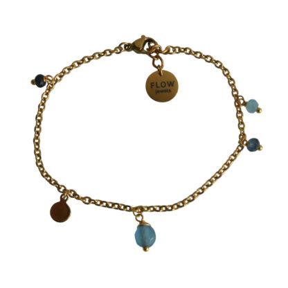 FlowJewels armband goud - blauw