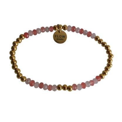 FlowJewels armband goud - roze