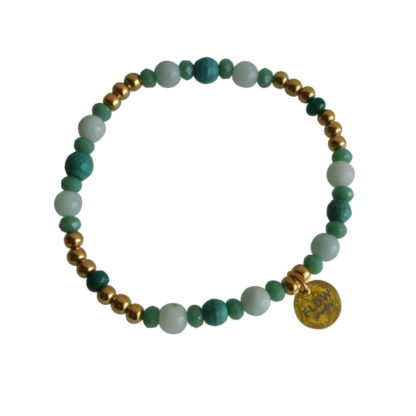 FlowJewels armband goud - licht blauw/groen