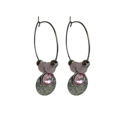 FlowJewels oorbellen zilver - roze