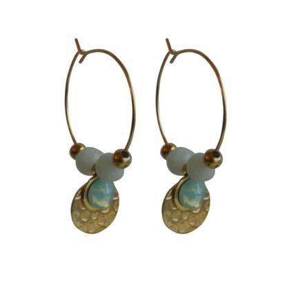 FlowJewels oorbellen goud - turquoise opaal