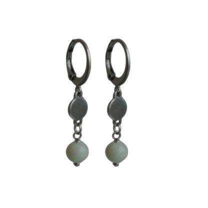 FlowJewels oorbellen zilver - licht blauw/groen