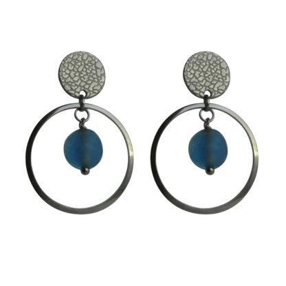 FlowJewels oorbellen zilver -blauw