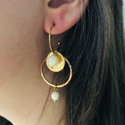 FlowJewels oorbellen goud - wit