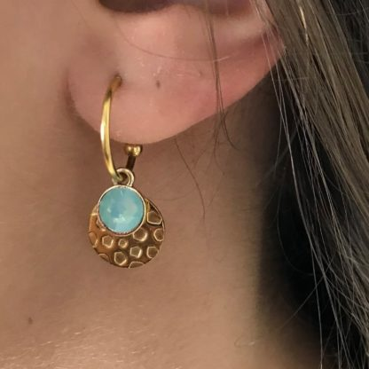 FlowJewels oorbellen goud - turquoise