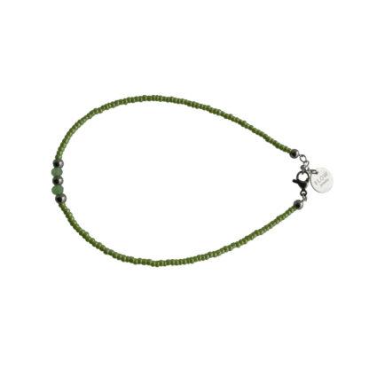 FlowJewels enkelbandje groen-zilver