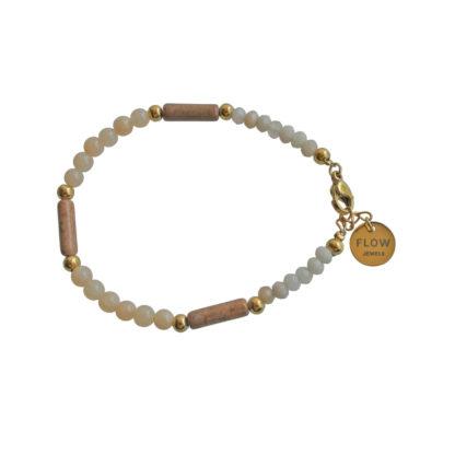 FlowJewels armband goud - beige