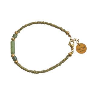 FlowJewels armband goud - khaki/groen