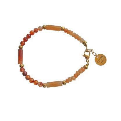 FlowJewels armband goud - terra/bruin