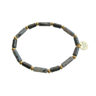 FlowJewels armband goud - zwart