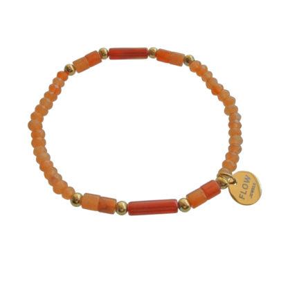 FlowJewels armband goud - terra/oranje
