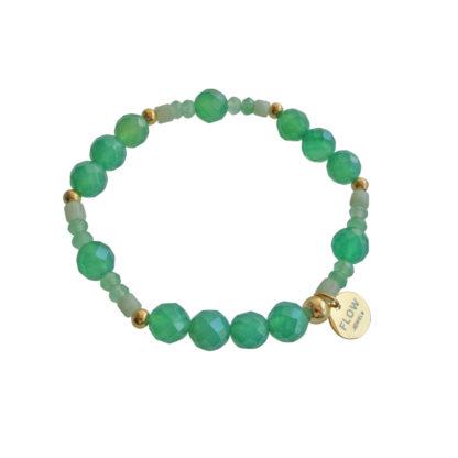 FlowJewels armband goud - licht groen