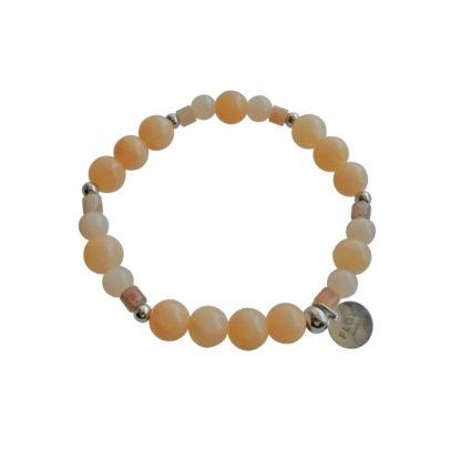 FlowJewels armband zilver - beige/zalm