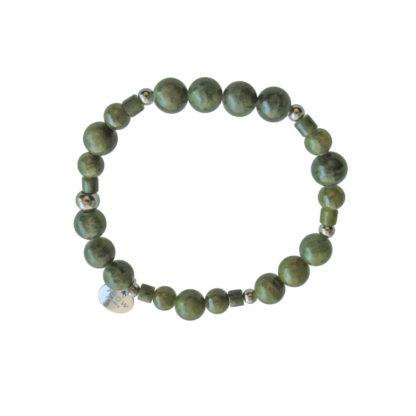 FlowJewels armband zilver - khaki/groen
