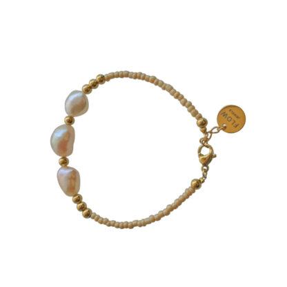 FlowJewels armband goud - beige/zalm