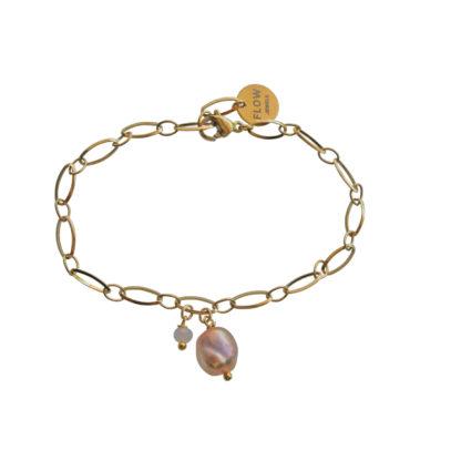 FlowJewels armband goud - oud roze
