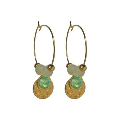 FlowJewels oorbellen goud - licht groen opaal