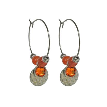 FlowJewels oorbellen zilver - terra/oranje