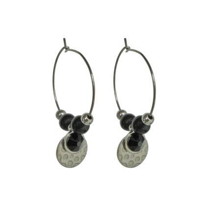 FlowJewels oorbellen zilver - zwart