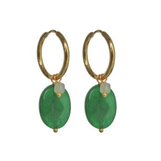 FlowJewels oorbellen goud - groen