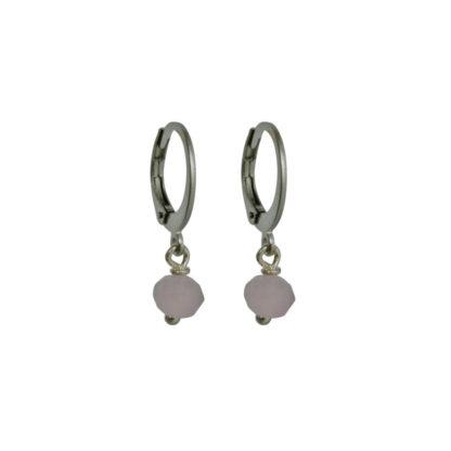 FlowJewels oorbellen zilver - roze opaal