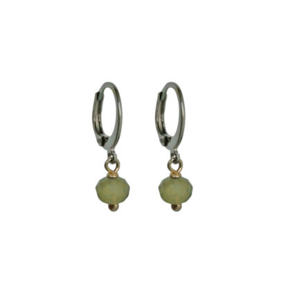 FlowJewels oorbellen zilver - khaki opaal