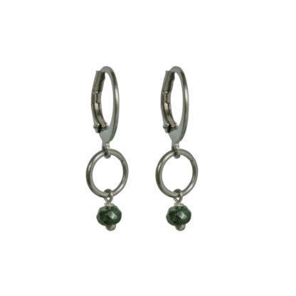 FlowJewels oorbellen zilver - khaki/groen