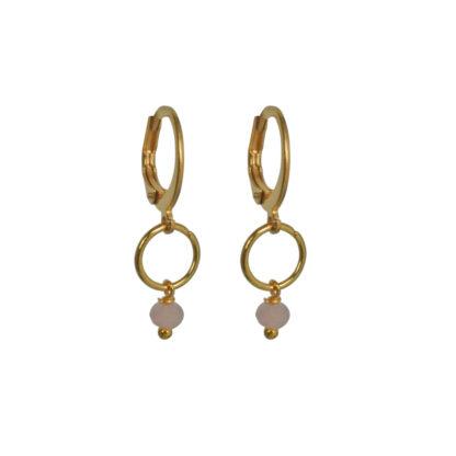 FlowJewels oorbellen goud - roze opaal