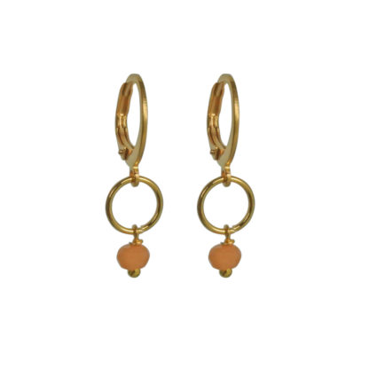FlowJewels oorbellen goud - oranje opaal