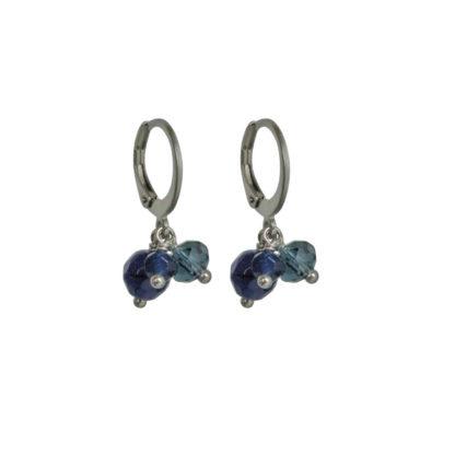 FlowJewels oorbellen zilver - blauw
