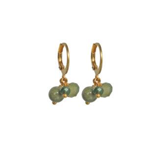 FlowJewels oorbellen goud - khaki/groen