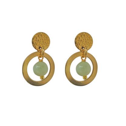 FlowJewels oorbellen goud - licht groen