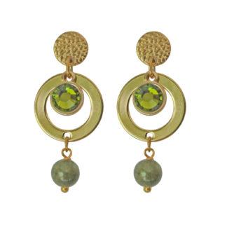 FlowJewels oorbellen goud- khaki/groen