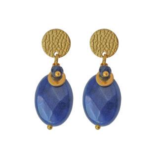 FlowJewels oorbellen goud - blauw